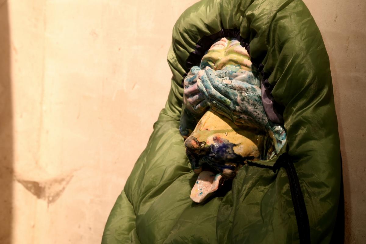 Kris Lemsalu, Phantom Camp, 2012. Photo: Margarita Ogoļceva, Latvian Centre for Contemporary Art, 2018 ceramics, sleeping bags; dimensions variable