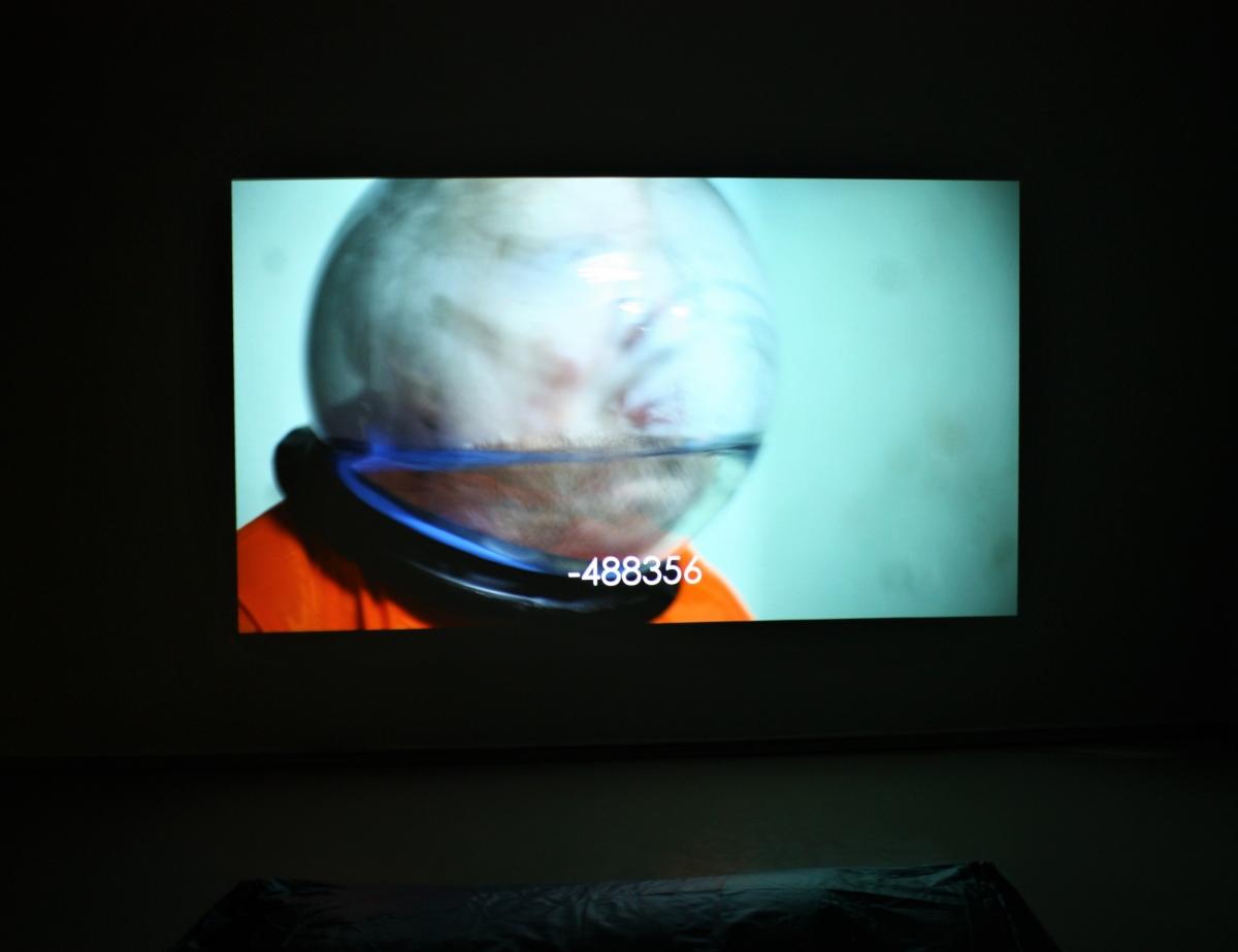 "Kasia Fudakowski (UK) ""Word Count 04: The Martyrdom of Professor Sanchez"" video installation view, M. Žilinskas art gallery."