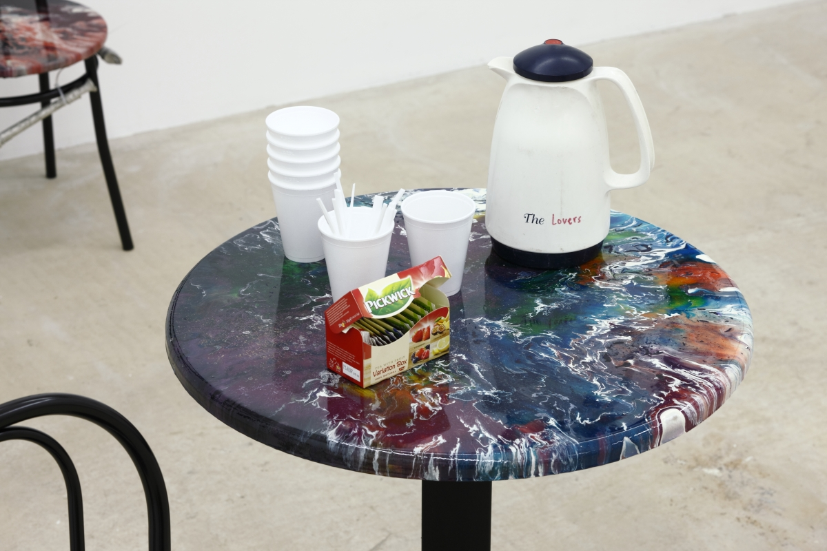 Café. Epoxy ressin, cast tin, strips, plastic cups, tea, thermo, plastic spoons, various dimensions. 2018