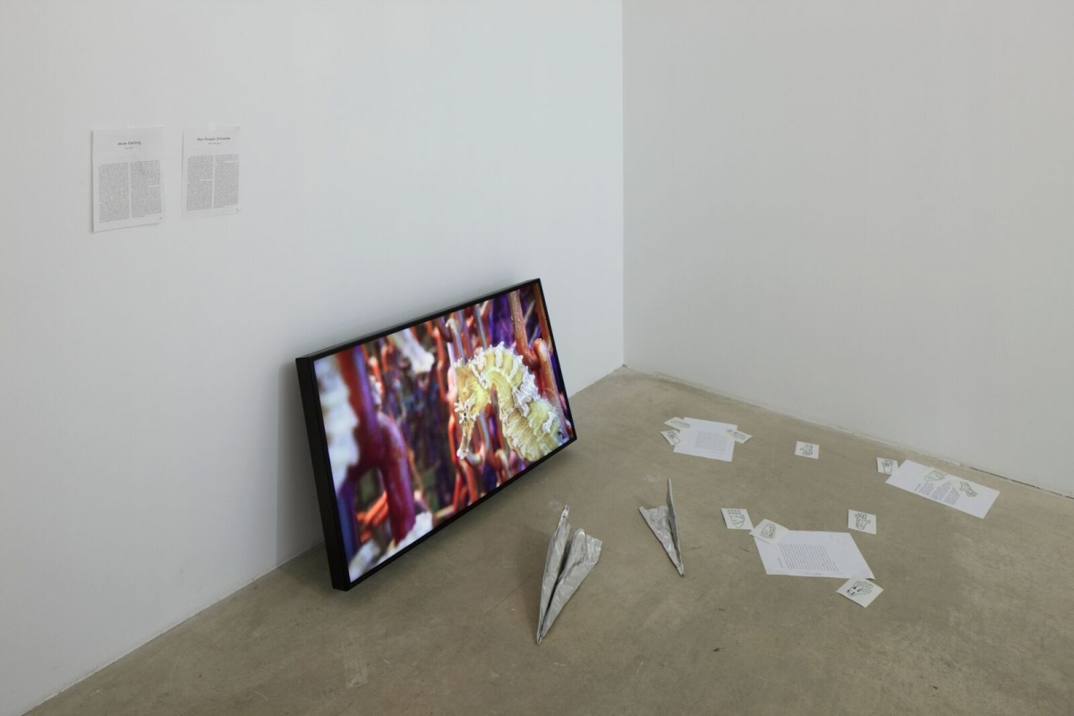 "Max Hooper Schneider, ""Montage on Climax Communities"", 2017, The Baltic Triennial 13 Give Up the Ghost, kim? contemporary art centre. Photo: Ansis Starks"
