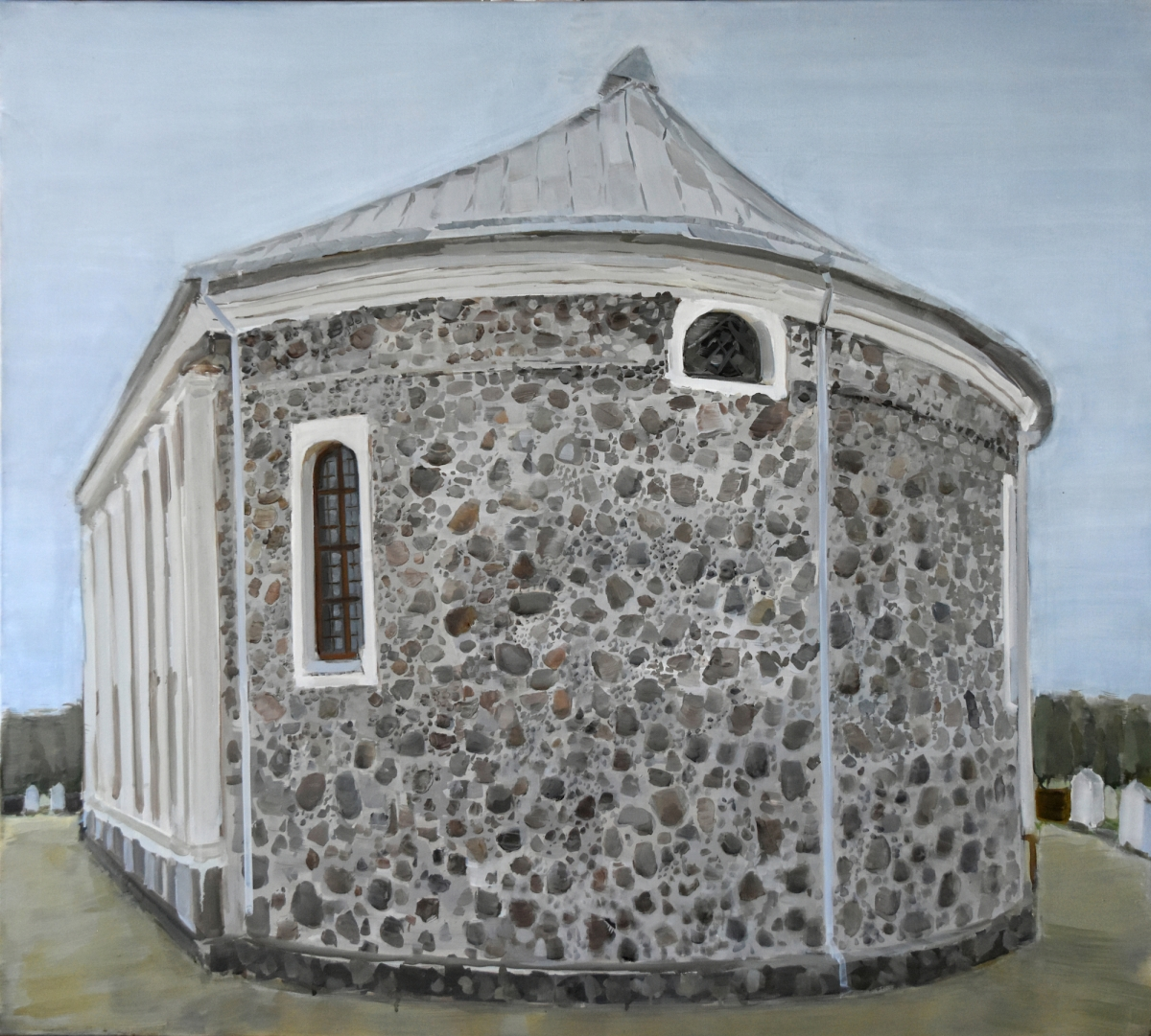 Eglė Ulčickaitė, The Back Façade (The Church of Kriaunos), 2017. Oil, canvas, 100×90 cm