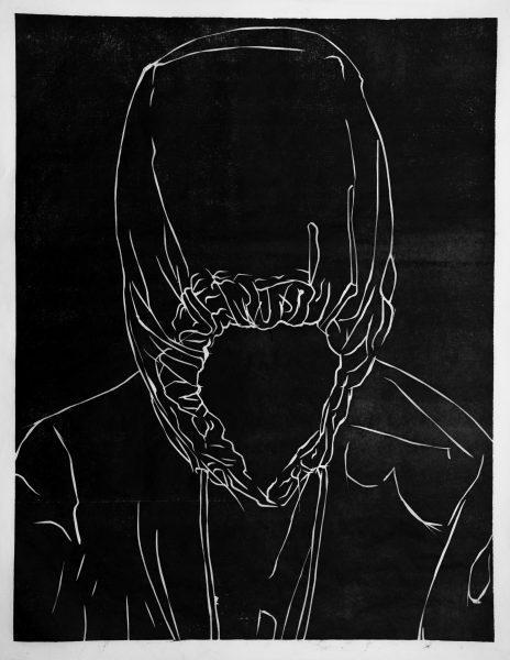 Noora Nio-Juss. Peidetud. Hooded.Спрятанный. Puulõige/ Woodcut/Kсилография. 2018