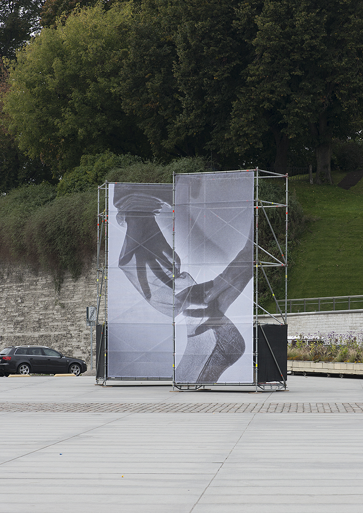 'Flawless, Seamless', 2017, outdoor banner in 2 parts at Freedom square, Tallinn Photomonth. Photo: Marge Monko
