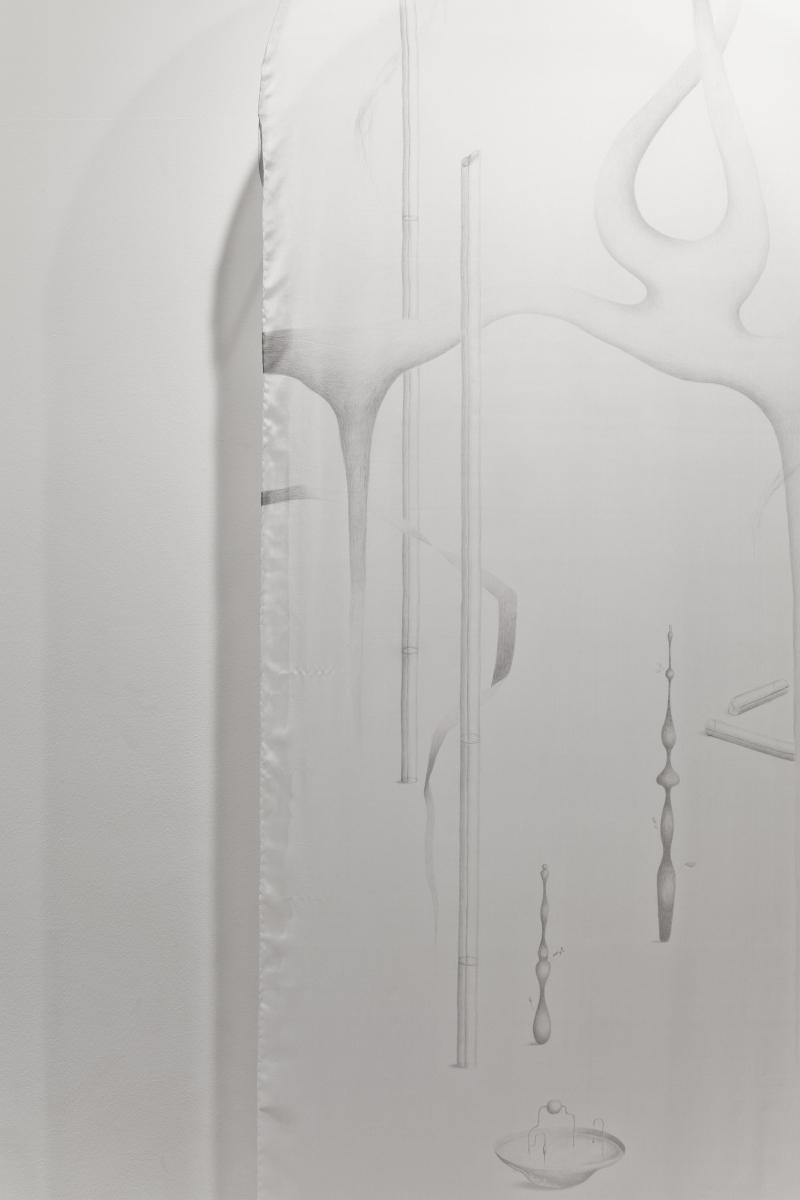 "Anna Mari Liivrand, ""Ripple on a Field"", silk, graphite, aluminum, 2019. Photo: Anu Vahtra"