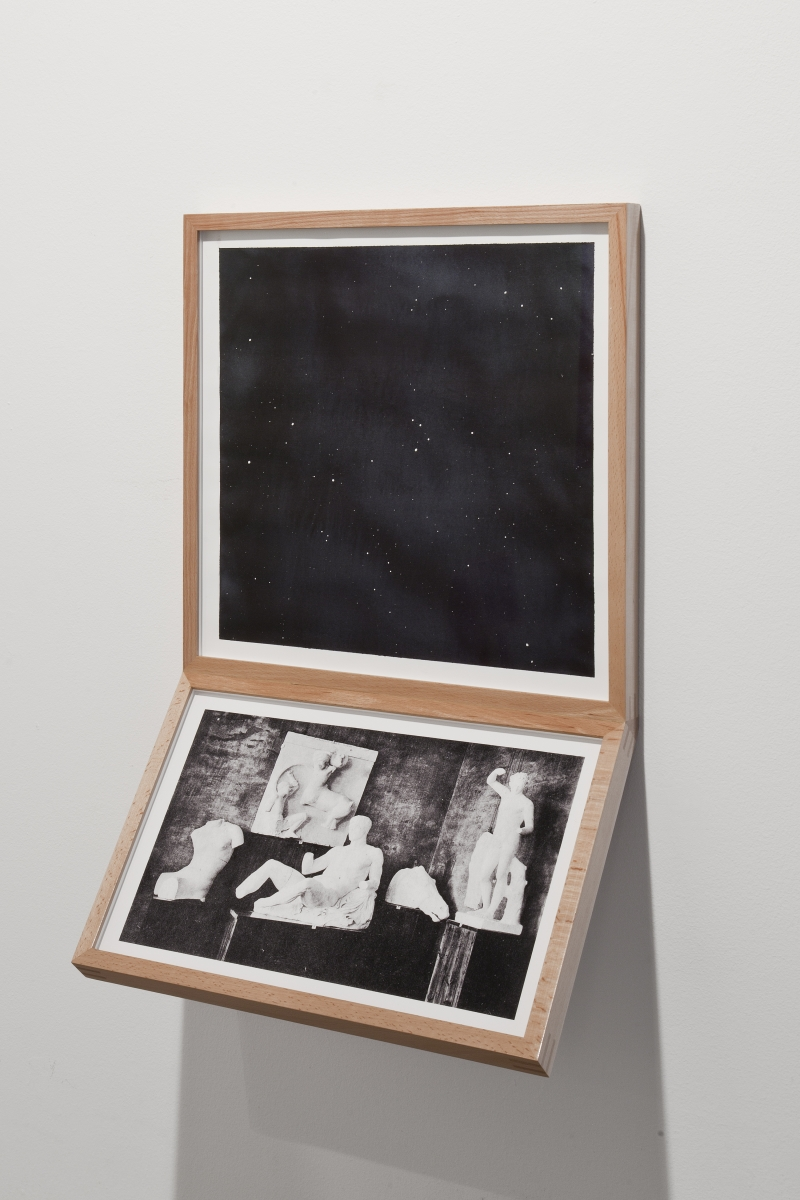 """Jaanus Samma, """"Museum Display (Stargazing) 1"""", watercolour, pigment print, 2019 Estonian National Museum's postcards nr 2 (1911) and 253 (1923) were used in the work. Photo: Anu Vahtra"""