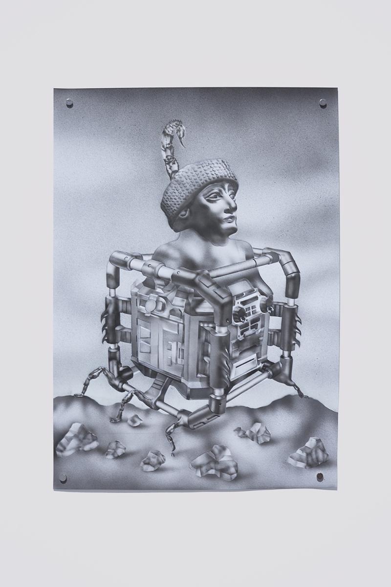 "Installation view of the exhibition, 'Extra-Planetary Commitment', lítost gallery, Prague, 2019. Botond Keresztesi, ""Audience"", black colour airbrush on paper, 29.7 cm x 42 cm – Courtesy of the artist. Photograph by Lenka Glisníková. © lítost"