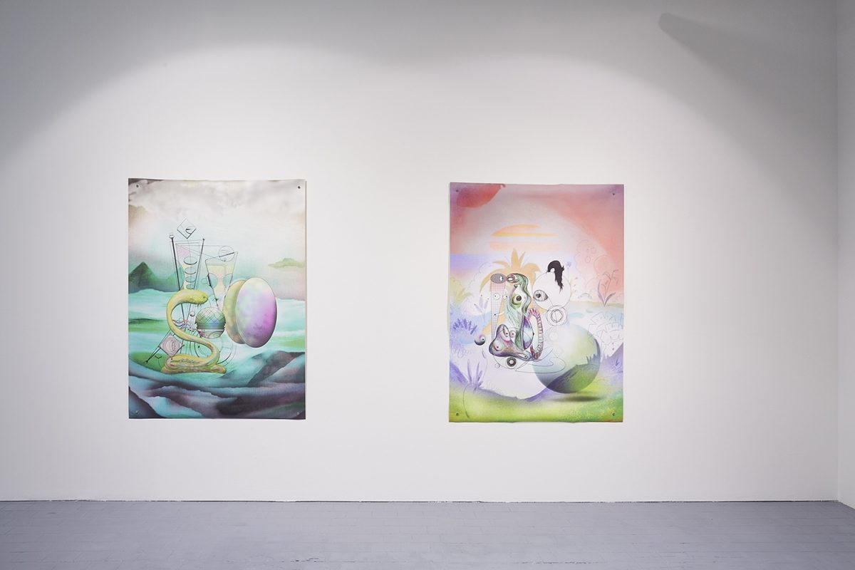 Installation view of the exhibition, 'Extra-Planetary Commitment', lítost gallery, Prague, 2019. From left to right: Ad Minoliti, 'GSFCw2', (2016), print on canvas, 100 cm x 140 cm – Courtesy of the artist and Galerie Crèvecœur; And Ad Minoliti, 'GSFCw1', (2016), print on canvas, 100 cm x 140 cm – Courtesy of the artist and Galerie Crèvecœur. Photograph by Lenka Glisníková. © lítost