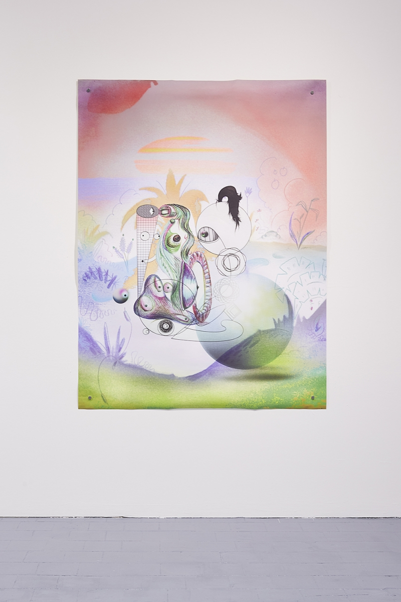 Installation view of the exhibition, 'Extra-Planetary Commitment', lítost gallery, Prague, 2019. Ad Minoliti, 'GSFCw1', (2016), print on canvas, 100 cm x 140 cm – Courtesy of the artist and Galerie Crèvecœur. Photograph by Lenka Glisníková. © lítost