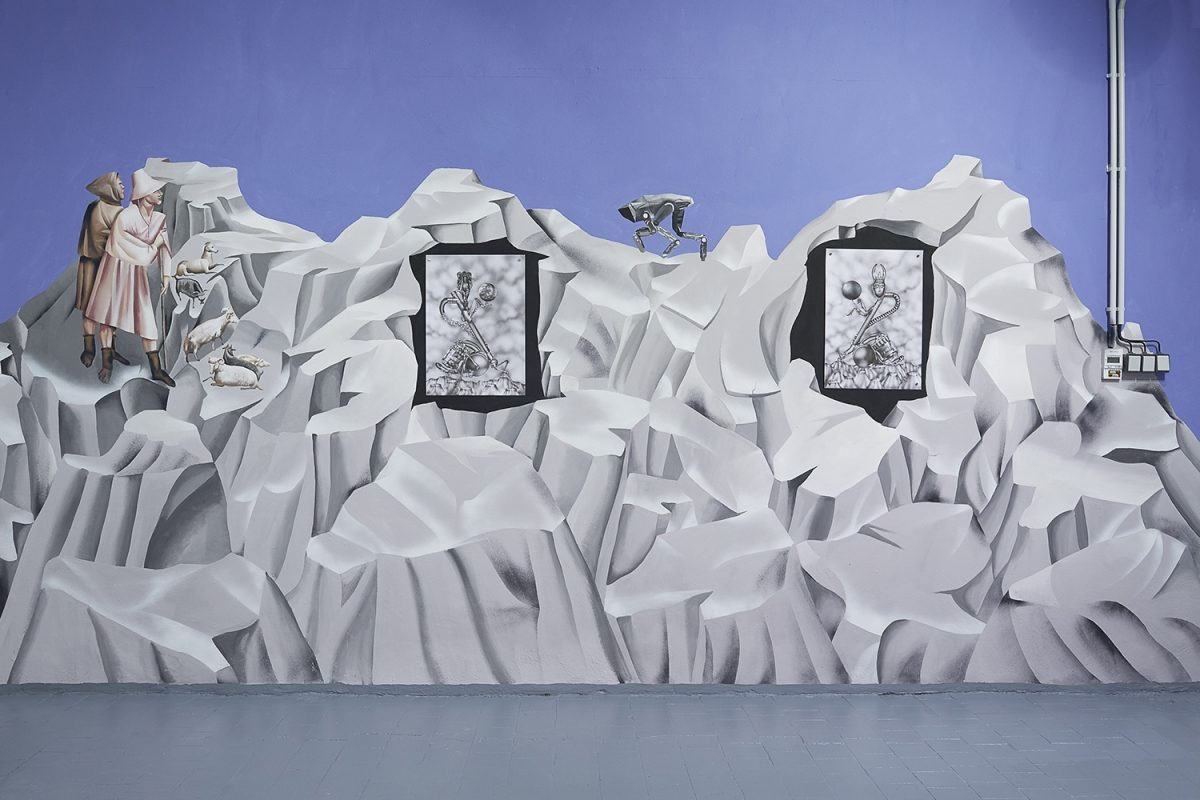 """Installation view of the exhibition, 'Extra-Planetary Commitment', lítost gallery, Prague, 2019. From left to right: Botond Keresztesi, """"Miss Universe 1"""", black colour airbrush on paper, 29.7 cm x 42 cm – Courtesy of the artist; And Botond Keresztesi, """"Miss Universe 2"""", black colour airbrush on paper, 29.7 cm x 42 cm – Courtesy of the artist. Photograph by Lenka Glisníková. © lítost"""