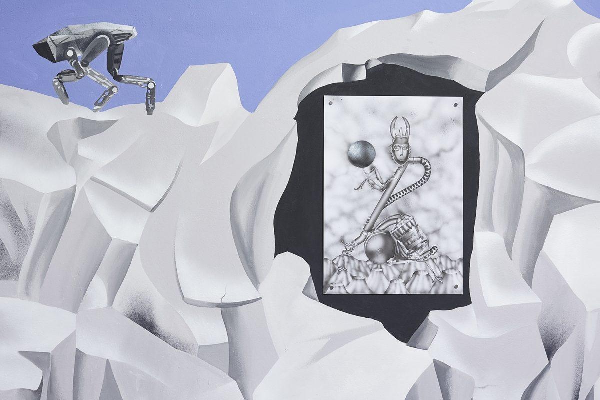 "Installation view of the exhibition, 'Extra-Planetary Commitment', lítost gallery, Prague, 2019. Botond Keresztesi, ""Miss Universe 2"", black colour airbrush on paper, 29.7 cm x 42 cm – Courtesy of the artist. Photograph by Lenka Glisníková. © lítost"