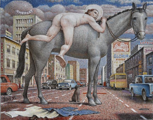 Auseklis Baušķenieks. I Want to Be in the Saddle. 1995. Oil on canvas. 55 x 70 cm. Zuzāns Collection. Photo: Jānis Pipars