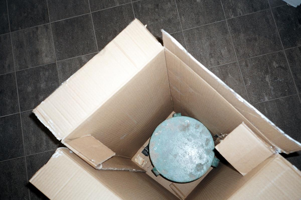 Kadi Estland, Home Alone. Cardboard box, stool. 2019. Courtesy of the artist. Photo by Marta Vaarik